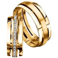 Furrer Jacot 18 Karat Yellow Gold Cut Out Diamond Men's Band