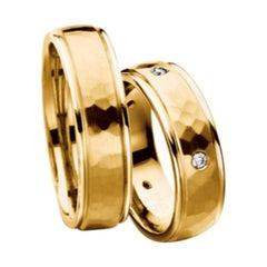 Furrer Jacot 18 Karat Yellow Gold Hammered Wedding Band