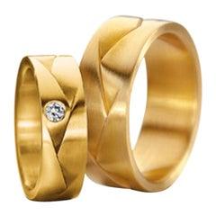 "Furrer Jacot 18 Karat Yellow Gold ""Origami"" Woven Diamond Band"