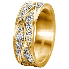 "Furrer Jacot 18 Karat Yellow Gold ""Origami"" Woven Diamond Ladies Band"