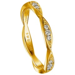 Furrer Jacot 18 Karat Yellow Gold Stackable Ladies Diamond Band