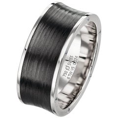 Furrer Jacot 18 Karat White Gold and Carbon Fiber Concave Diamond Band