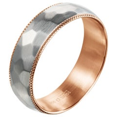 Furrer Jacot 18 Karat White and Rose Gold Two-Tone Milgrain Hammered Men's Band
