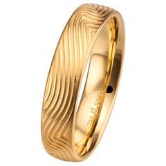 Furrer Jacot 18 Karat Yellow Gold Fingerprint Design Men's Band