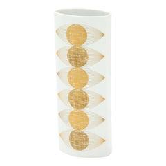 Fürstenberg Op Art Vase, Porcelain, Gold, Bronze and White, Signed