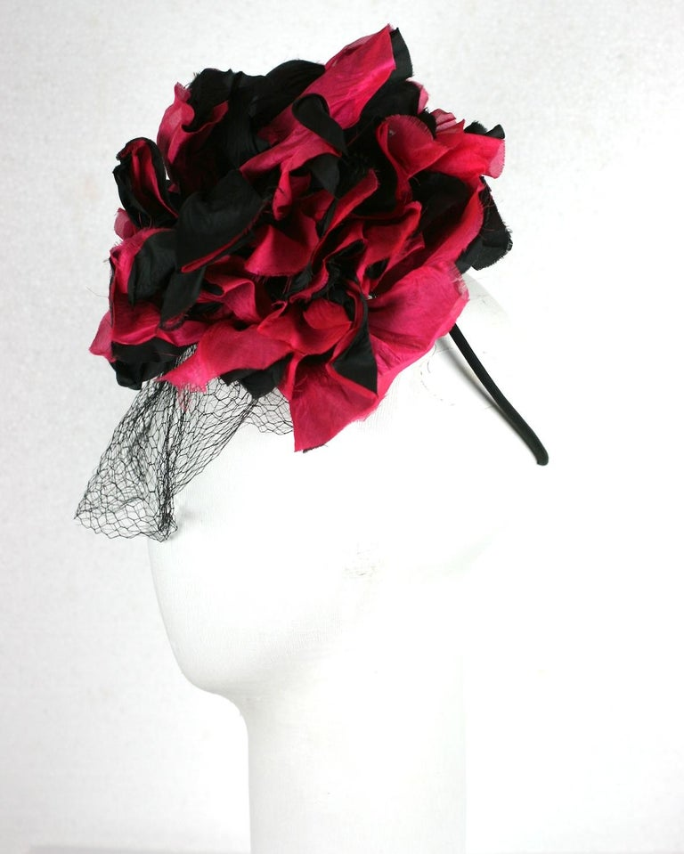 Fuschia and Black Silk Flower Topper In Excellent Condition For Sale In Riverdale, NY
