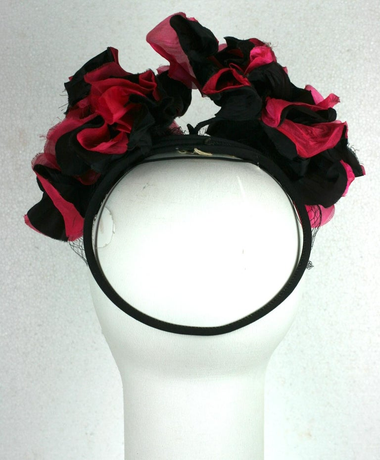 Women's or Men's Fuschia and Black Silk Flower Topper For Sale