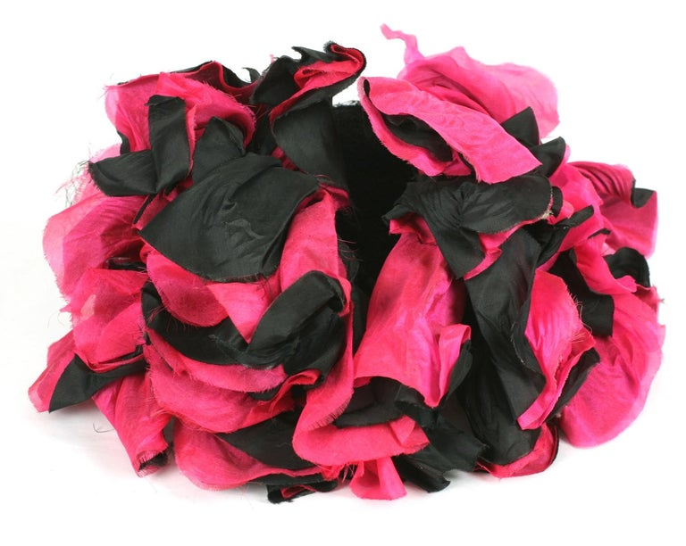 Fuschia and Black Silk Flower Topper For Sale 2