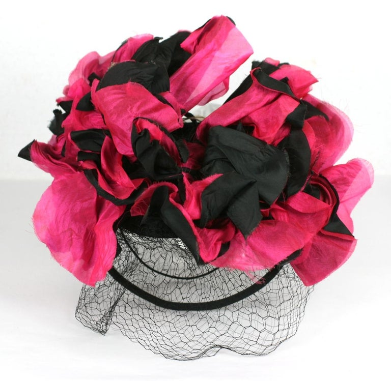 Fuschia and Black Silk Flower Topper For Sale 3