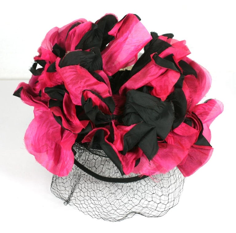 Fuschia and Black Silk Flower Topper For Sale 4