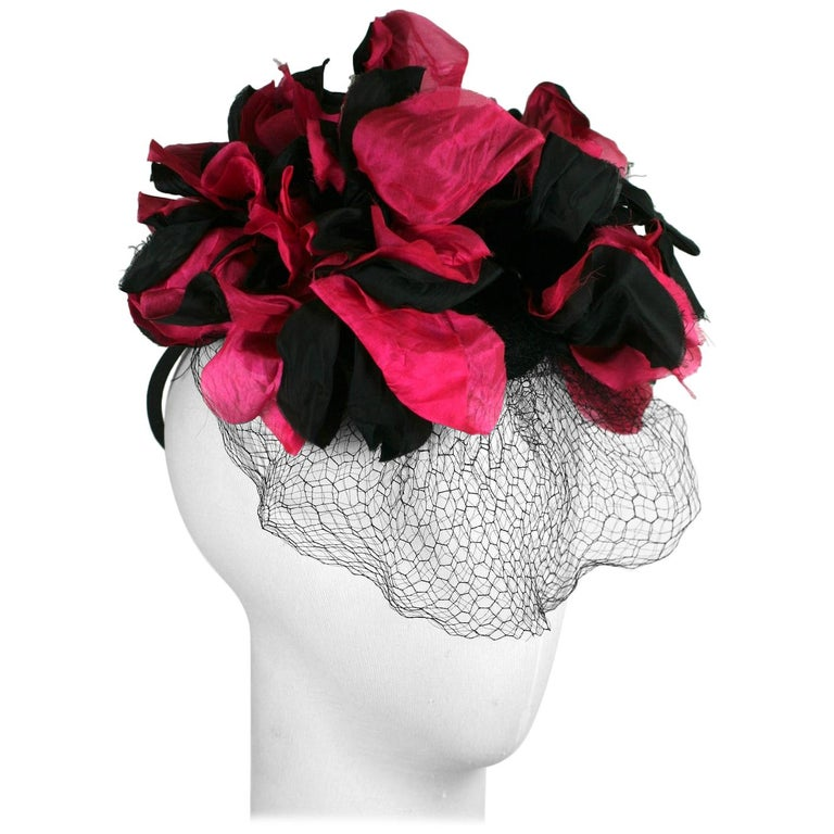 Fuschia and Black Silk Flower Topper For Sale