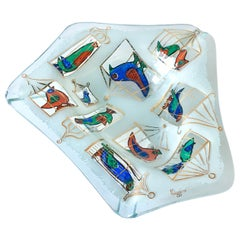 Fused Glass Ashtray Illustrating Birdcages by Higgins