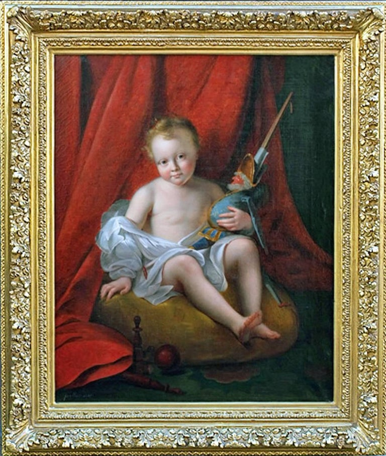 Portrait Child With Toy Puppet Doll Interior Decoration 18th Century