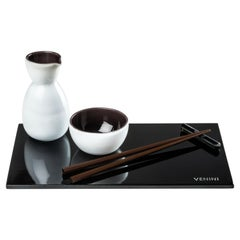 Fusion Sushi Set in Black and White Glass by Venini