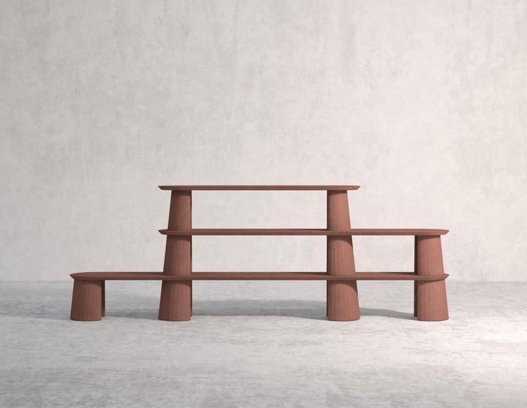 Classical Roman 21st Century Studio Irvine Fusto Bookcase Mod.I Concrete Bookshelf Beige Cement For Sale