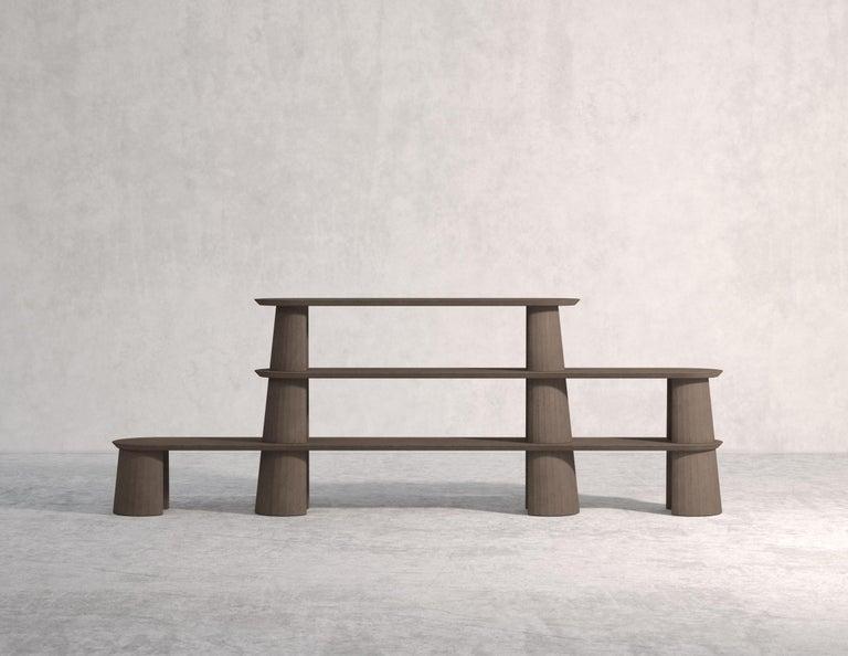 Italian 21st Century Studio Irvine Fusto Bookcase Mod.I Concrete Bookshelf Beige Cement For Sale