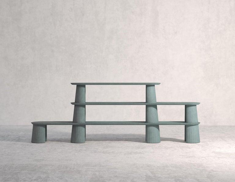21st Century Studio Irvine Fusto Bookcase Mod.I Concrete Bookshelf Beige Cement In New Condition For Sale In Rome, Lazio