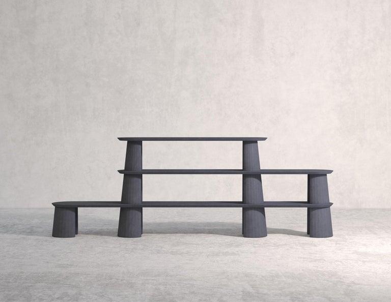 Contemporary 21st Century Studio Irvine Fusto Bookcase Mod.I Concrete Bookshelf Beige Cement For Sale
