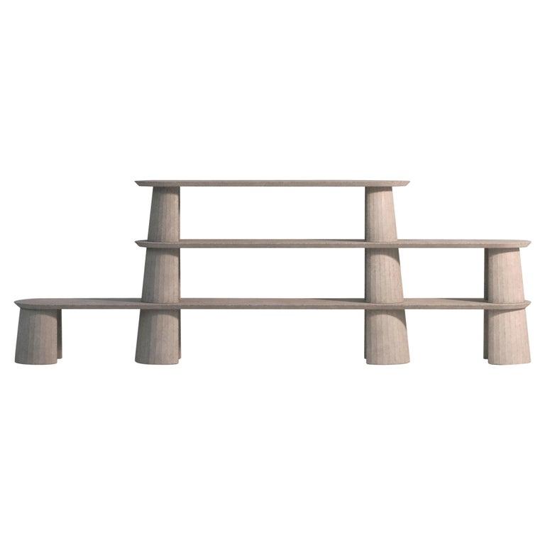 21st Century Studio Irvine Fusto Bookcase Mod.I Concrete Bookshelf Beige Cement For Sale