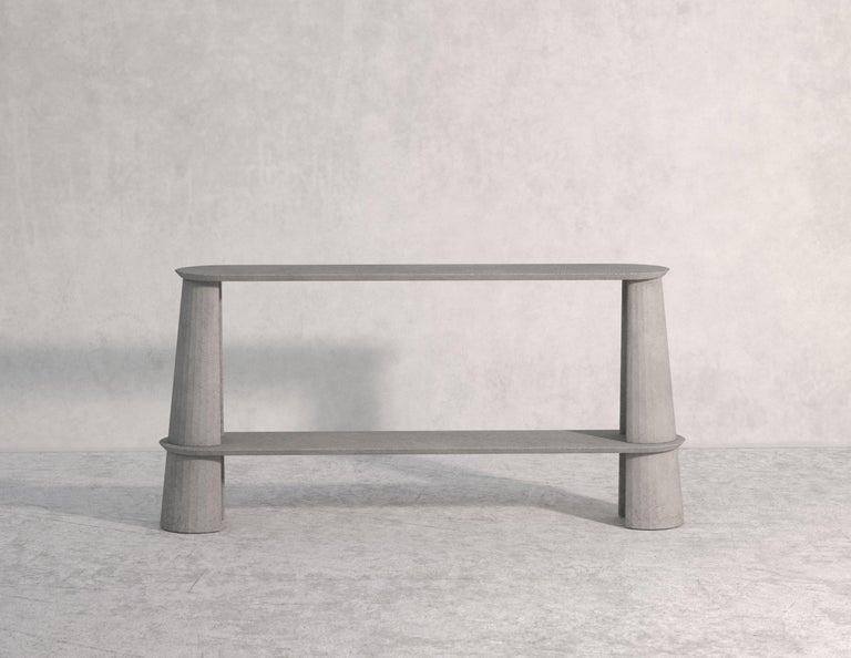 Classical Roman 21st Century Studio Irvine Fusto Side Console Table Concrete Cement Green Fir  For Sale