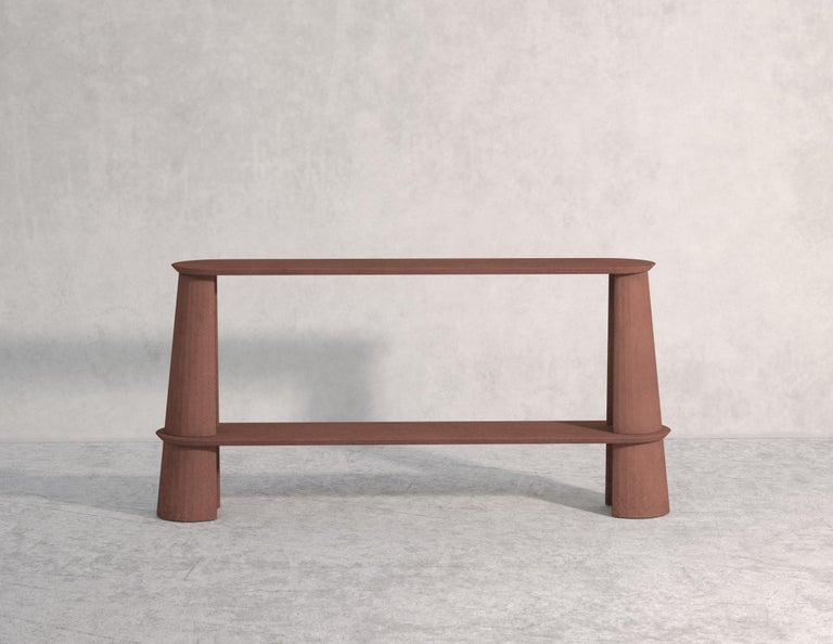 Italian 21st Century Studio Irvine Fusto Side Console Table Concrete Cement Green Fir  For Sale