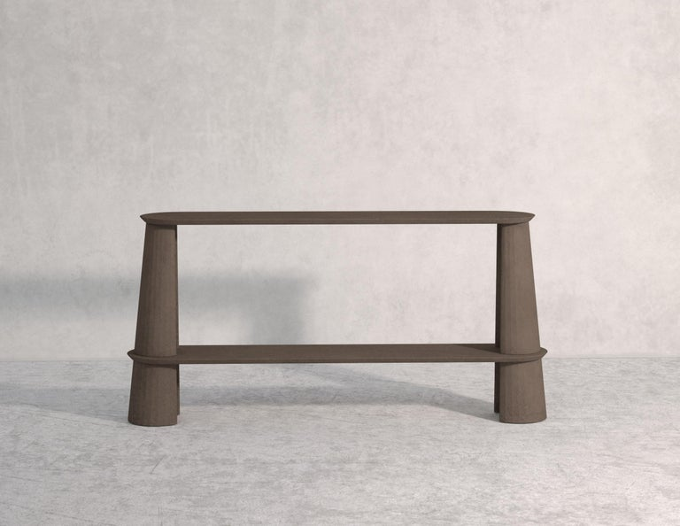 Molded 21st Century Studio Irvine Fusto Side Console Table Concrete Cement Green Fir  For Sale