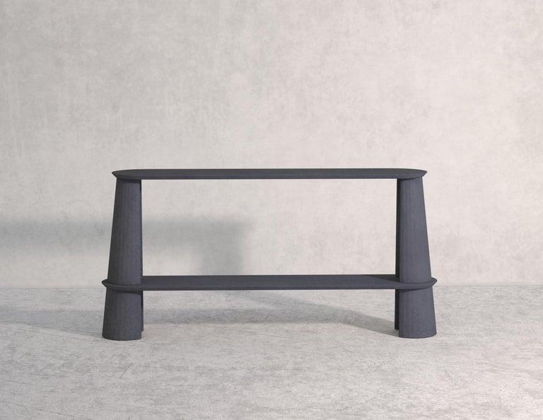 Contemporary 21st Century Studio Irvine Fusto Side Console Table Concrete Cement Green Fir  For Sale