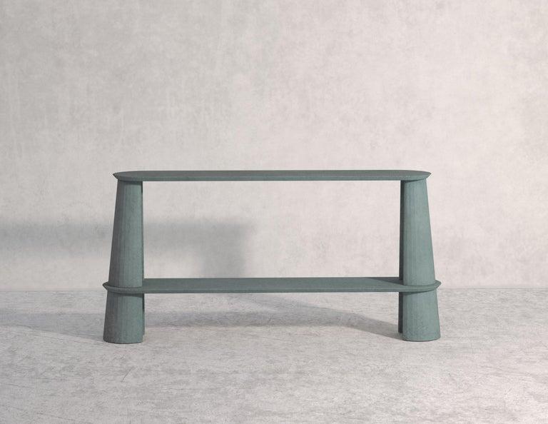 21st Century Studio Irvine Fusto Side Console Table Concrete Cement Green Fir  For Sale 2