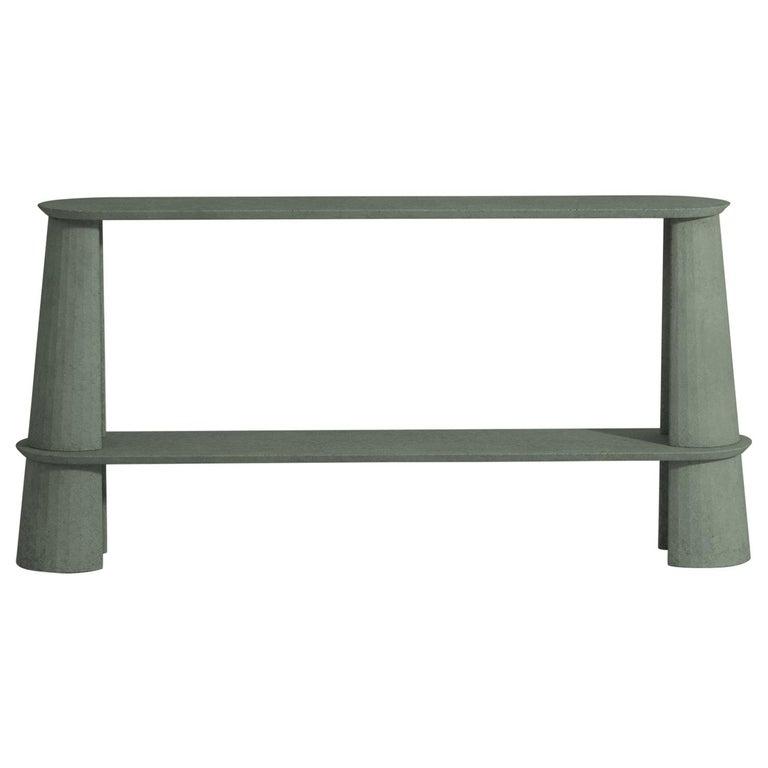 21st Century Studio Irvine Fusto Side Console Table Concrete Cement Green Fir  For Sale
