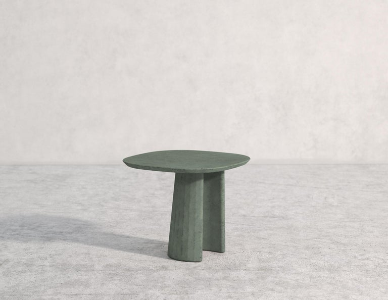 Molded 21st Century Studio Irvine Concrete Coffee Side Table Silver Grey Cement Mod.I For Sale