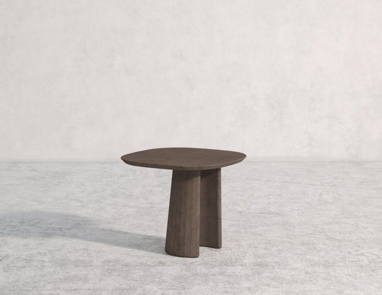 Contemporary 21st Century Studio Irvine Concrete Coffee Side Table Silver Grey Cement Mod.I For Sale