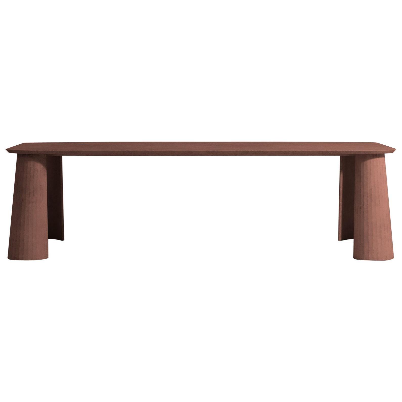 21St Century Studio Irvine Fusto Rectangular Dining Table Red Brick Cement Color
