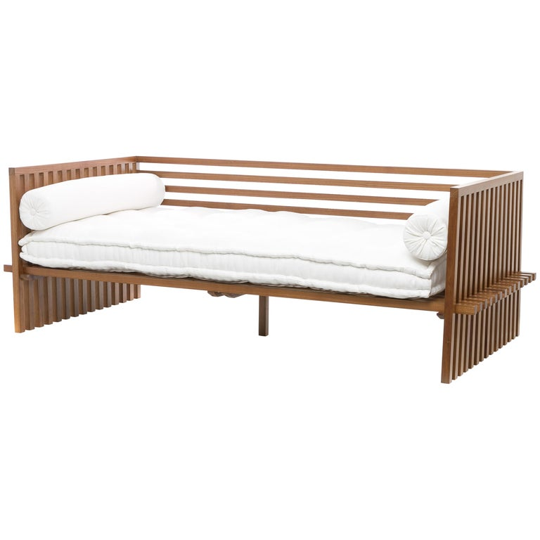 Futon Daybed Sofa, Contemporary Japanese Style Sofa in Solid Wood Structure
