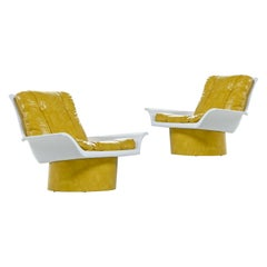 Futorian Decorian Molded Plastic Lemon Candy Shell Italian Modern Lounge Chairs
