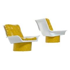 Futorian Decorian Molded Plastic Lemon Candy Shell Italian Modern Lounge Chairs