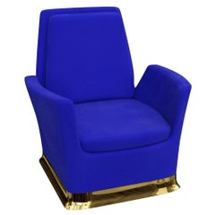 Swivel Lounge Chair In Blue Velvet With Polished Brass Base