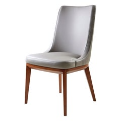 Future Chair, Grey Leather Upholstered Chair with Solid Walnut Legs