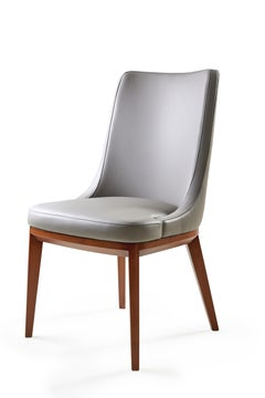 Future Chair, Grey Leather Upholstered Chair With Solid Walnut Legs.