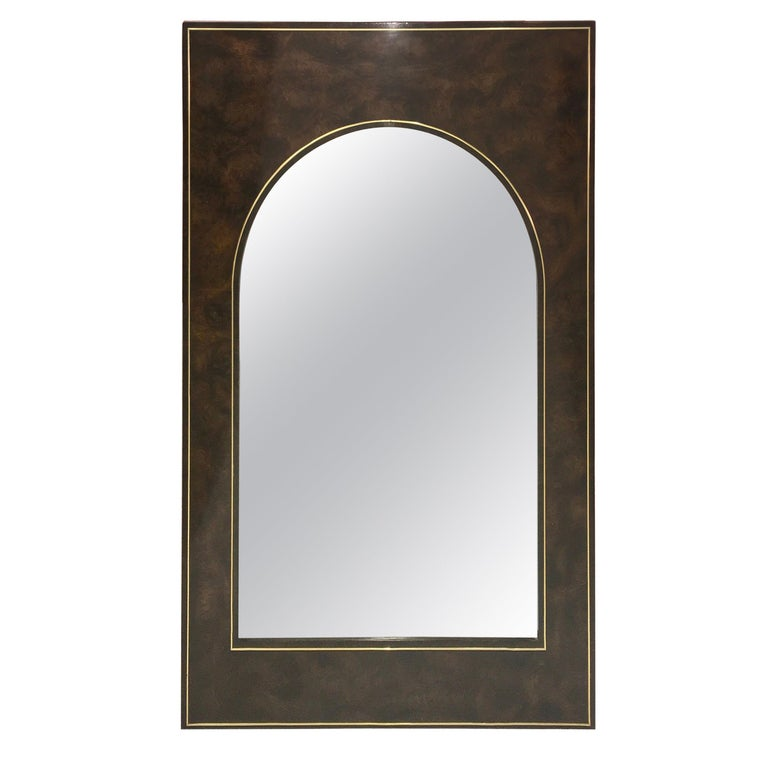 Futurist Arch Form Mirror in Carpathian Elm and Brass by Mastercraft For Sale