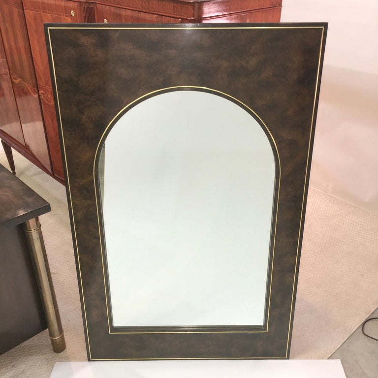 Futurist Arch Form Mirror in Carpathian Elm and Brass by Mastercraft For Sale 4