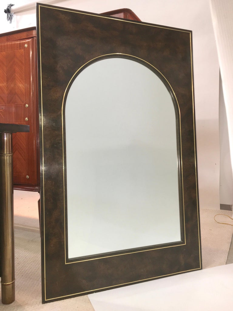 Futurist Arch Form Mirror in Carpathian Elm and Brass by Mastercraft For Sale 5