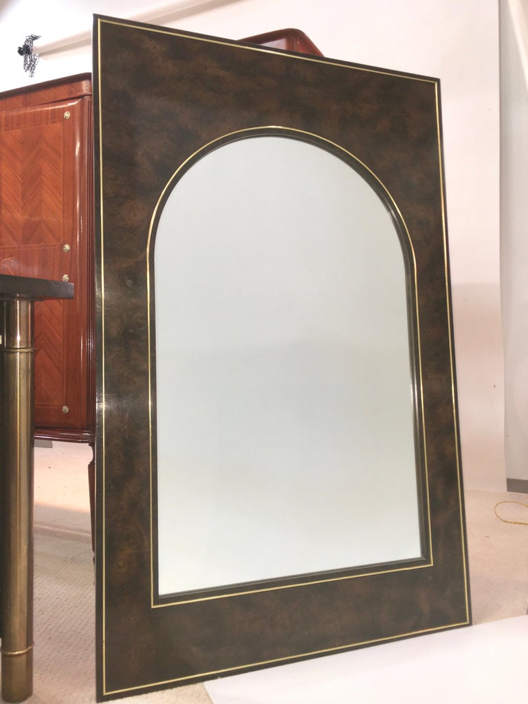 American Futurist Arch Form Mirror in Carpathian Elm and Brass by Mastercraft For Sale
