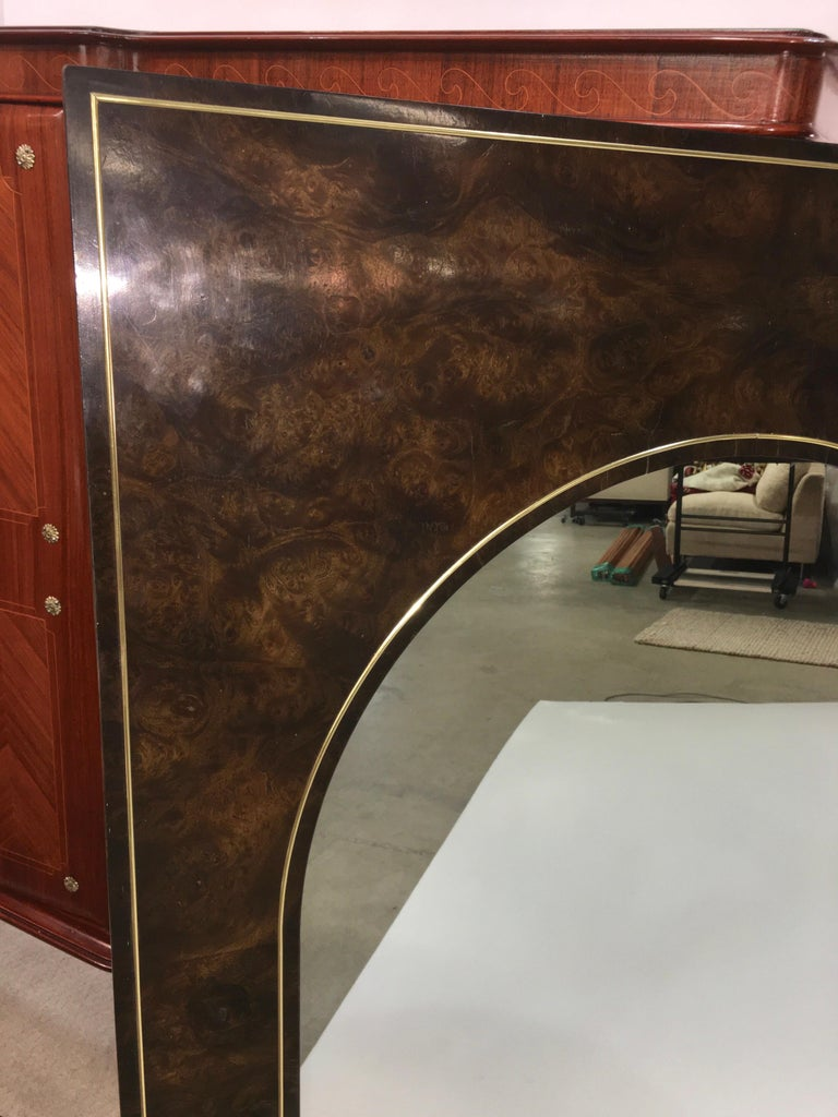 Late 20th Century Futurist Arch Form Mirror in Carpathian Elm and Brass by Mastercraft For Sale