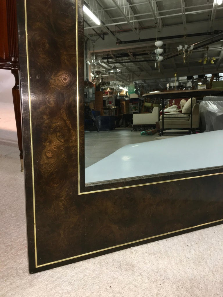 Futurist Arch Form Mirror in Carpathian Elm and Brass by Mastercraft For Sale 1