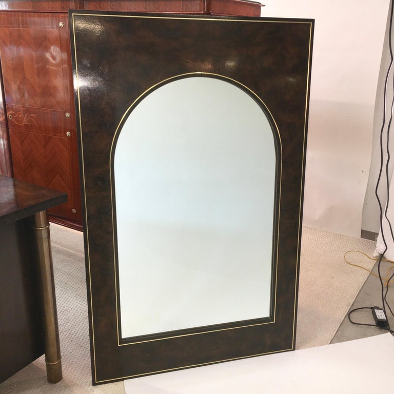 Futurist Arch Form Mirror in Carpathian Elm and Brass by Mastercraft For Sale 2