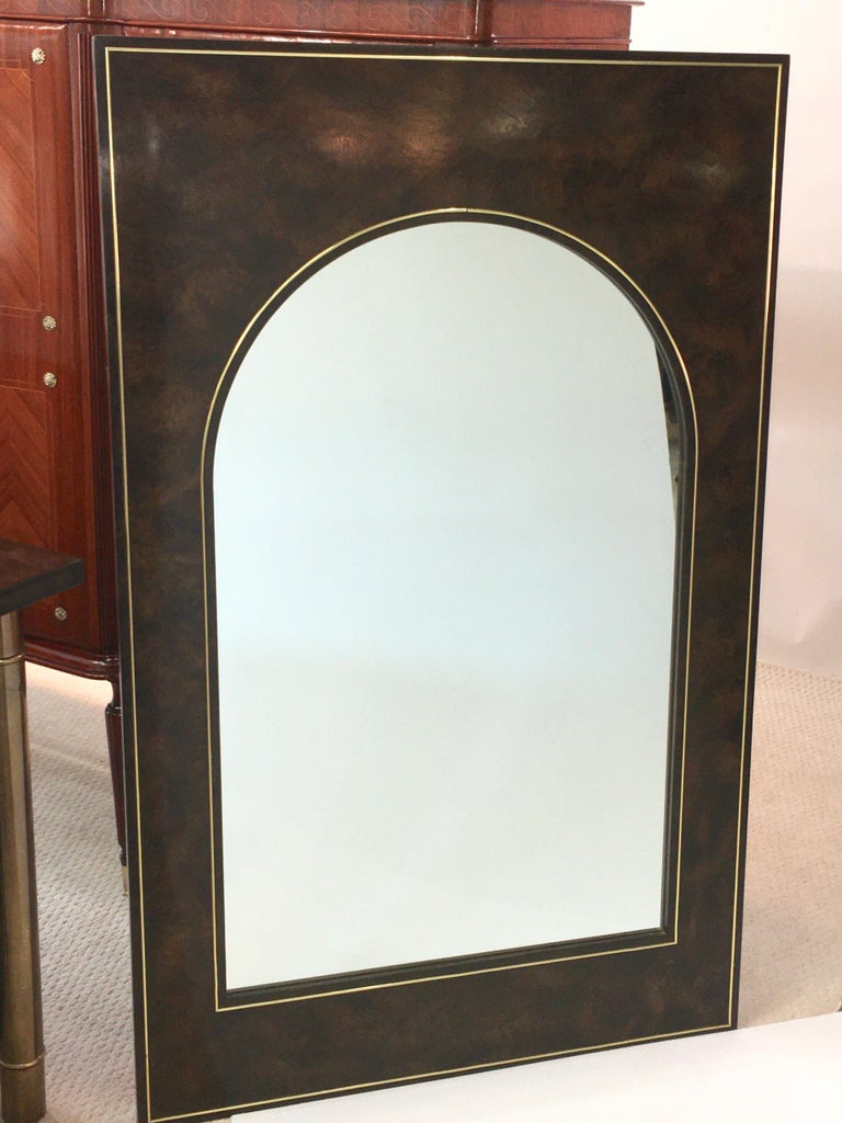 Futurist Arch Form Mirror in Carpathian Elm and Brass by Mastercraft For Sale 3