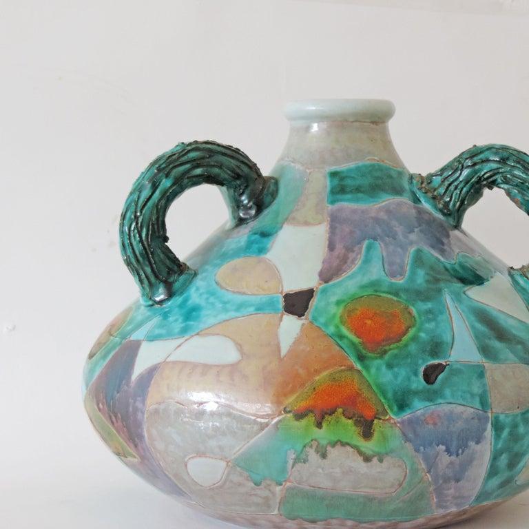 Mid-20th Century Futurist Torido Mazzotti Monumental Vase for M.G.A, Albisola, 1955 For Sale