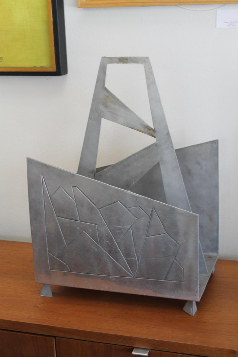 Mid-Century Modern Futuristic Aluminum Magazine / Log Holder Rack For Sale