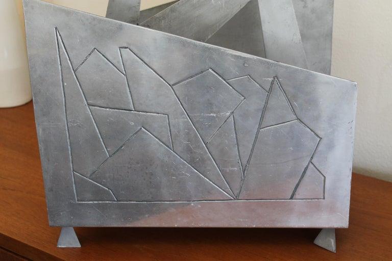 American Futuristic Aluminum Magazine / Log Holder Rack For Sale
