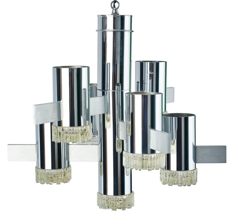 Mid-Century Modern Futuristic Chrome and Glass Chandelier by Gaetano Sciolari, Italy, 1970s For Sale